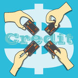 Mains tenant la carte de crédit Photo libre de droits