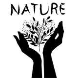 Mains tenant la nature illustration stock