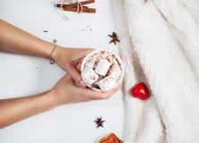 Mains tenant la tasse de chocolat chaud avec la guimauve Photo libre de droits