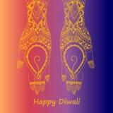 Mains tenant le diya indien, festival de Diwali Images libres de droits