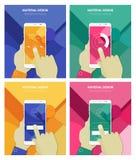 Mains tenant Smartphone abstrait avec le fond matériel Photo stock