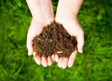 Mains tenant un coeur de la terre sur le fond vert naturel Ecolog Photo libre de droits