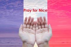 Mains vides ouvertes d'humain à prier pour des Frances Photographie stock libre de droits