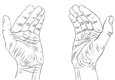 Mains vides protectrices avec l'endroit pour un certain petit objet, detaile Image libre de droits