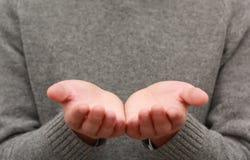 Mains vides retournées Photographie stock libre de droits