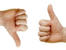mains vis-à-vis d'afficher deux photo libre de droits