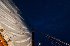 Mainsail with Spinning Stars Royalty Free Stock Photography