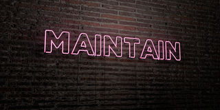 MAINTAIN -Realistic Neon Sign on Brick Wall background - 3D rendered royalty free stock image Royalty Free Stock Image