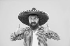 Maintain tradition. Mexican guy festive outfit ready to celebrate. Man bearded cheerful guy wear sombrero mexican hat. Yellow background. Mexican party concept stock images