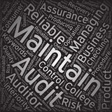 Maintain ,Word cloud art background Stock Images
