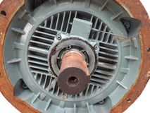 Maintainance and clean gear shaft of rotating motor. Rust on skin shaft rotor stock photos