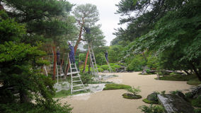 Maintaining Adachi Museum Garden in Japan Stock Photography