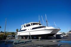 Maintaining a catamaran Royalty Free Stock Photo