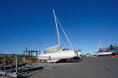 Maintaining a catamaran Royalty Free Stock Image