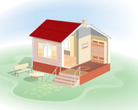 Maintaining a home in the context. Representation of different coatings inside the house and outside for processing and dyeing. Detailed vector image for best Stock Photos