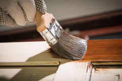Maintaining of wooden surfaces Royalty Free Stock Photos