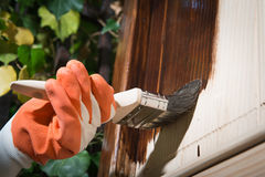 Maintaining of wooden surfaces Stock Image