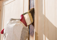 Maintaining of wooden surfaces Royalty Free Stock Photo