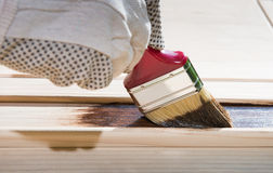 Maintaining of wooden surfaces Stock Images