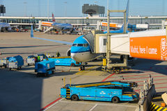 Maintenance of aircraft on the airfield at the airport Amsterdam Stock Images