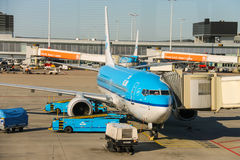 Maintenance of aircraft on the airfield at the airport Amsterdam Royalty Free Stock Photo