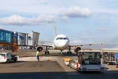 Maintenance of aircraft before the flight royalty free stock photography