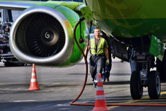 Maintenance of aircraft Parking Boeing 737 Stock Image