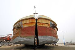 Maintenance of barges Stock Photos