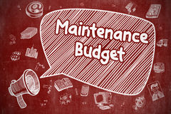 Maintenance Budget - Doodle Illustration on Red Chalkboard. Royalty Free Stock Photos