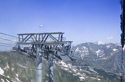 Maintenance of the Cableway lift in the Austrian m Royalty Free Stock Image
