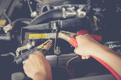 Maintenance car battery by yoursalf stock photo