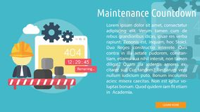 Maintenance Countdown Conceptual Banner. Set of great flat design illustration concepts for web, maintenance, internet, network and much more Stock Photos
