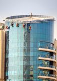 Dubai window washers Stock Photo