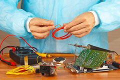 Maintenance of electronic hardware in service workshop Royalty Free Stock Images