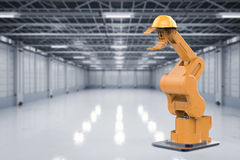 Maintenance engineer concept. With 3d rendering robotic arm with safety helmet Stock Images