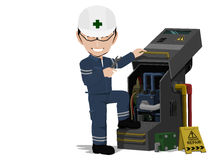 Maintenance Engineer. Is repairing machine on transparent background Stock Photos