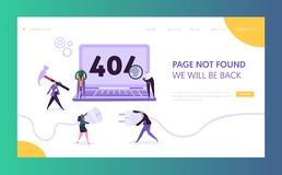404 Maintenance Error Landing Page Template. Page Not Found Under Construction Concept with Characters Fixing Problem royalty free illustration