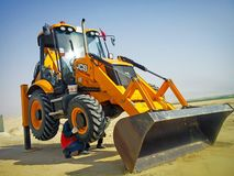 Maintenance of an Excavator stock photography