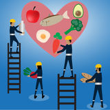 Maintenance heart with food Royalty Free Stock Photo