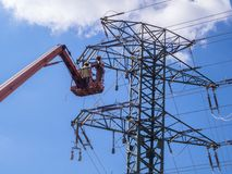 Maintenance of high voltage lines. Maintenance with forklift platform on high voltage lines royalty free stock photography