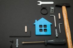 Maintenance in house, home repair. Toolset renovation background. Copy space for text stock image