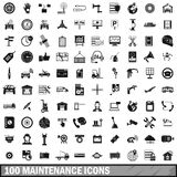 100 maintenance icons set, simple style. 100 maintenance icons set in simple style for any design vector illustration Stock Image