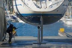 Maintenance on the keel Royalty Free Stock Image