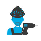 Maintenance mechanic blue icon Royalty Free Stock Photography