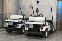Maintenance personnel cars. Maintenance personnel cars at the airport stock images