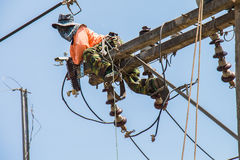 Maintenance of power distribution system Stock Images