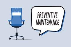 Maintenance préventive des textes d'écriture de Word Concept d'affaires pour la panne Avoid faite tandis que machine fonctionnant illustration libre de droits