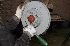 Maintenance and repair of the car. Replacing the brake disk. Royalty Free Stock Photo