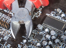 Maintenance and repair of electronics. Background close-up Stock Photo
