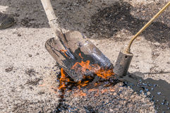 Maintenance of road and highway pavements Stock Image